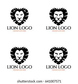 Lion logo design template. Heart logo design concept. Vector illustration