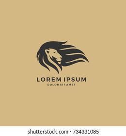 lion logo hair logo template vector icon
