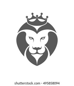 Lion. Logo. King lion with crown on white background. Vector illustration EPS10