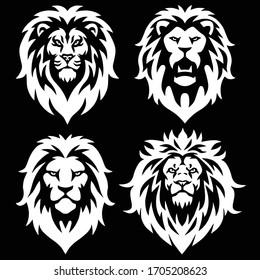 Lion Logo Mascot Set Icon Black and White Collection Pack Premium Vector Design
