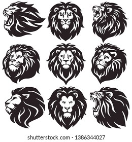 Lion Logo Set Collection Pack Premium Vector Design Icon
