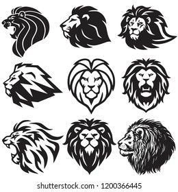 Lion Logo Set Collection. Premium Design Vector Illustration