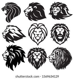 Lion Logo Set Collection. Premium Design Vector Illustration Icon