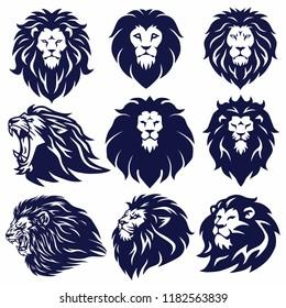 Lion Logo Set Collection Vector Design Illustration