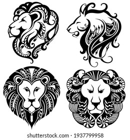Lion Logo Set.  Design Collection. Vector Illustration