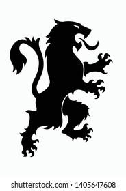 Lion logo silhouette.Heraldic rampant lion black silhouette. Coat of arms. Heraldry logo design element