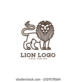 Lion logo template design in linear style on a white background. Vector illustration.