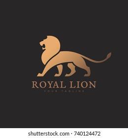 Lion logo template design. Vector illustration.