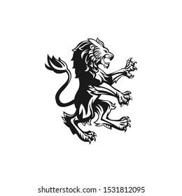 Lion logo vector illustration, emblem design.
