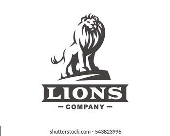 Lion logo - vector illustration, emblem design on white background