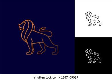 Lion logo vector. Lion line art logo inspiration