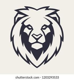Lion looking danger. Lion head icon. Lion vector logo template.