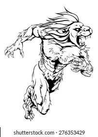 A lion man character or sports mascot charging, sprinting or running
