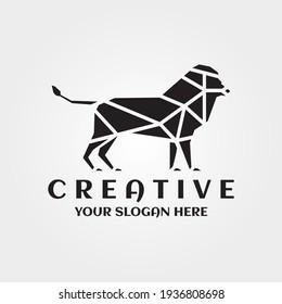 Lion Mascot Animal Mosaic Design. Lion line Art Logo Symbol