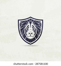Lion mascot emblem symbol. Vector illustration.