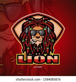 Lion mascot esport logo design