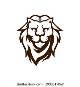 Lion Mascot Logo Design Illustration Vector Black and White Version
