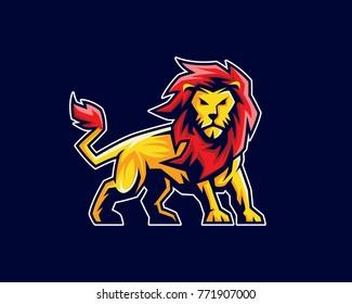 Lion mascot logo, sport logo, emblem or crest character design