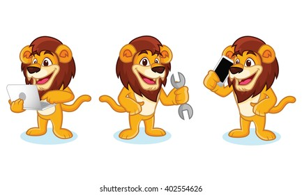 Lion Mascot Vector with laptop, phone and tools