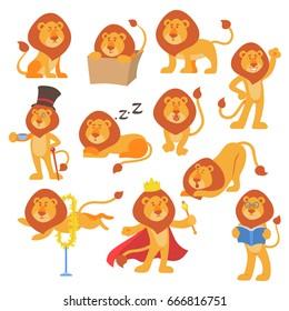 Lion mascot vector pose happy cartoon cute wild character safari mammal cat jungle animal illustration.