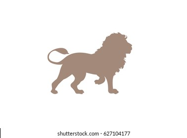 Lion minimal vector illustration, silhouette isolated on a white background