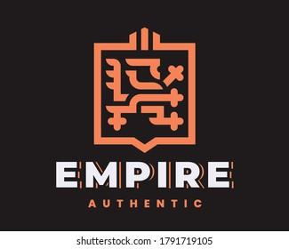 Lion modern heraldic logo design editable for your business.
