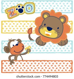 lion and monkey cartoon on colorful footprint background