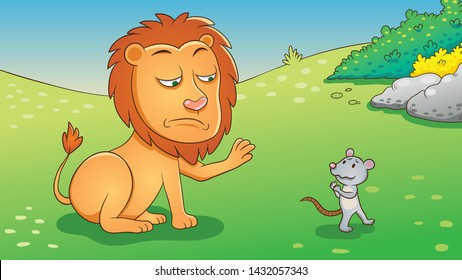 The Lion and the Mouse. Aesop fairy fable tale illustration. Cartoon vector  Lion and mouse in jungle  background.