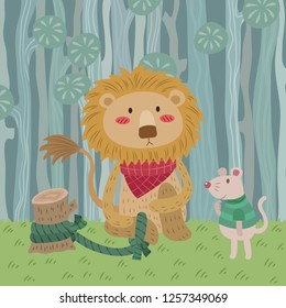 The Lion and the Mouse. Aesop fairy tale illustration. Cartoon vector for fairy tale story and book. Lion and mouse in jungle with pastel background.