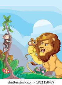The lion and the mouse moral story vector illustration