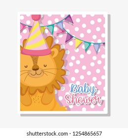 lion with party banner to baby shower celebration