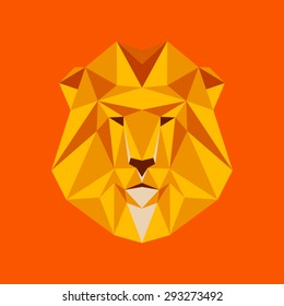 Lion portrait. Abstract low poly design. Vector illustration.