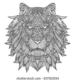A lion. Portrait of a wild cat. Predator. Lion's Head. The stylized animal. Line art. Black and white drawing by hand. Doodle. Zentangle. Tattoo.
