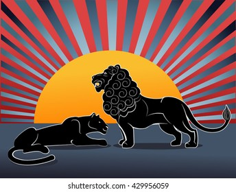 lion pride. Male and female lions