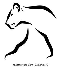 Lion Profile Line Art