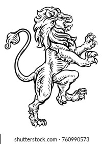 A lion rampant standing on its back legs from a coat of arms or medieval heraldic crest
