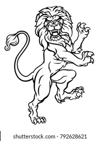 A lion rampant standing on hind legs from a coat of arms or heraldic crest