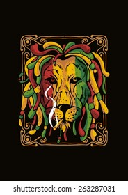 Lion Rasta vintage vector illustration colorful Red Green Yellow in black background for t-shirt design clothing