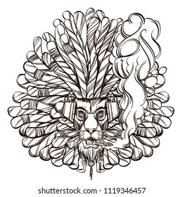 The lion is rastaman in headphones and with a cigarette. The symbol of rastafarianism.