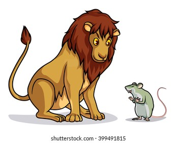 lion and rat draw cartoon vector