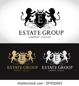 Lion Real Estate Luxury Crests Logo Template