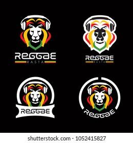 lion reggae rasta vector logo designs