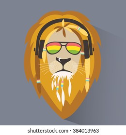 Lion reggae. Lion rastafarian. Lion head with dreadlocks. Logo reggae. Vector illustration