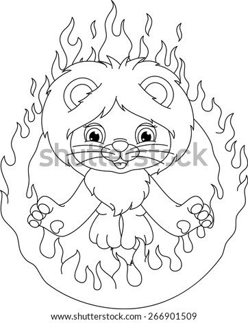 Lion Ring Fire Coloring Page Stock Vector (Royalty Free) 266901509 ...