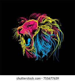 lion roar colorful vector logo for t-shirt painting modern vibrant freedom abstract painting
