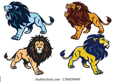 Lion Roaring Stand Stance Esport Mascot Vector Logo Pack Set Collection