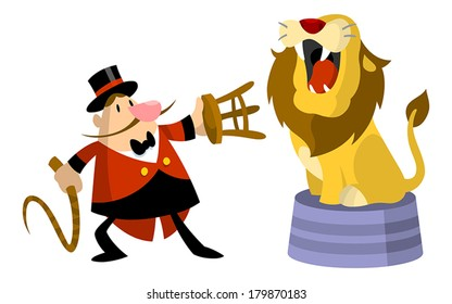 Lion roaring at lion tamer with stool and whip.