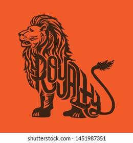 Lion Royalty Typography Vector Logo Concept
