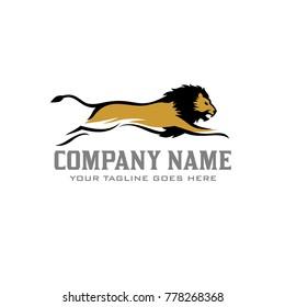 Lion Run Logo Vector