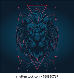 Lion in sacred geometric style